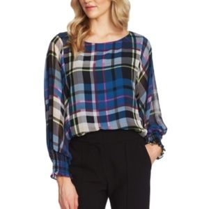 Vince Camuto plaid sheer sleeve batwing top